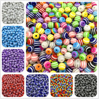 HOT  Round Spacer Beads Charms Resin Stripe Loose Beads Jewelry Making LOT