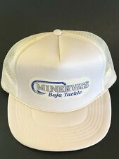 3c9d7cd2936aa Vintage MINERVA s Baja Tackle Rare White Fisherman Trucker Hat with Patch  SnapBa