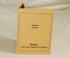 Vivitar Lens for 35mm SLR Cameras Owner's Record vintage  receipt 7115012