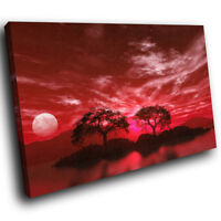 SC043 Red Black White Tree Nature Landscape Canvas Wall Art Large Picture Prints