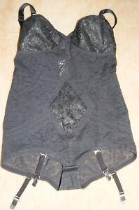 Rago Lacette Corselette Black 42C Style 9057 Suspenders