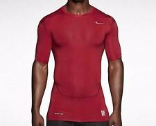 Nike Pro Combat Compression Short Sleeve Shirt Red Mens Large L 449792 Free Ship