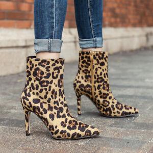 Women Ankle Boots Punk Leopard Pointed Toe Stilettos Heeled Booties US 6 Leopard