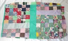 """Vintage Hand Stitched Pieced Quilt Top Square Patchwork 88"""" X 77"""" T23"""