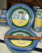 "Baum Bros Style Eyes - Vintage Hand Painted Palm Tree 10-1/2"" Diner Plate"