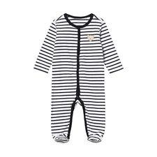 Steiff Newborn Boys Schlafanzug mit Fuß 1/1 Arm gr. 62 blau / weiß gestreift