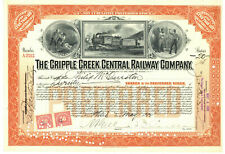 Cripple Creek Central Railway Company. Stock Certificate. 1922