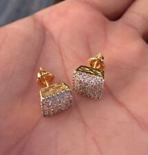 Men's Lab Diamond Earrings 10K Gold Screw Back Stud Earrings Fully Iced 0.5 ct.