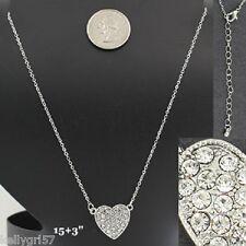 Heart, Crystal Love Valentine Girlfriend Wedding Prom Wife Gift Necklace #339-C