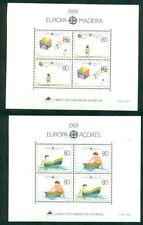 EUROPA 1989 Azores + Madeira Souvenir sheets NH, VF Scott $25.00