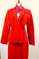 Vintage 80s MOD Red Ultrasuede Skirt Suit Jacket Blazer Set Career Pockets Vegan