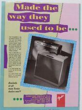 vintage magazine advert 1989 FENDER vibroverb / bassman