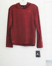Nike Air Jordan Jumpman Active Long Sleeve Hooded Shirt Gym Red Sz L - NWT