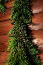 GARLAND/ROPING,10 ft, FRESH, FRAGRANT, FULL, MIXED GREENS,PINE CONES RED BERRIES