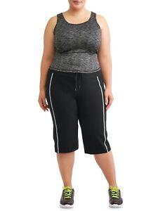 Athletic Works Women's Plus Size Dri More Core Piped Bermuda, Black, 1X