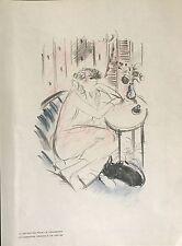"""VERTES """"PORTRAIT DE COLETTE LA VAGABONDE""""  LITHOGRAPHIE ORIGINALE 1928"""