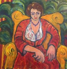 PAMELA CAWLEY (British Impressionist) THE LADY IN RED - LARGE CONTEMPORARY WORK