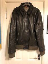 Tommy Hilfiger Men's Leather Bomber Jacket Size Large L