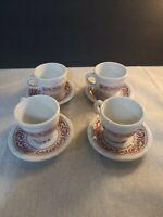 Shenango China Restaurant Ware Cup & Saucer Set of 4 (8 Pieces) Burgandy