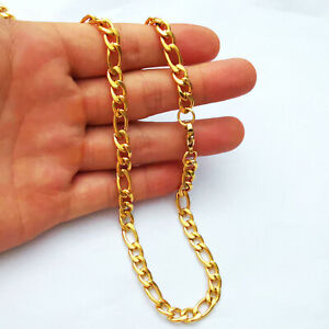 18K Gold plated figaro link chain 7mm necklace,bracelet,Anklet 7inch--40inch
