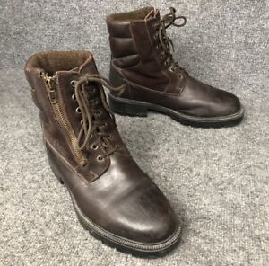 Vintage Orvis Mens Lined Zip & Lace Up Brown Leather Hunting Boots Sz 9.5 E