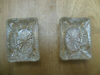 "Set of 2 Vintage Small Clear Lead Glass Ashtray 3"" x 2"" x 1"""