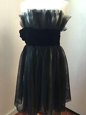 NOTTE by MARCHESA Women's Cream Satin & Black Tulle Style Strapless Dress Sz 8