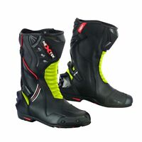 Mens Racing Boots Motorbike Motorcycle Riding Waterproof Shoes Leather CE Armour