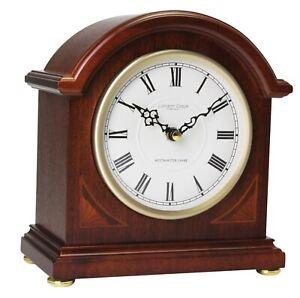 Wooden Mahogany Finish Westminster Chime Quartz Mantel Clock, London Clock 07029