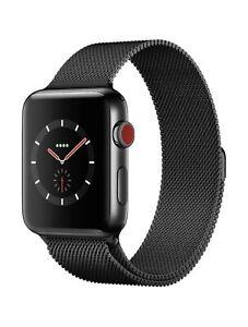 Apple Watch Band 38/42mm Black Stainless Steel Magnetic Closure Milanese Loop
