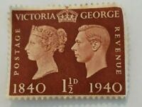 1 1/2d Queen Victoria, King George VI Postage Bronze Stamp 1840/1940. Royal