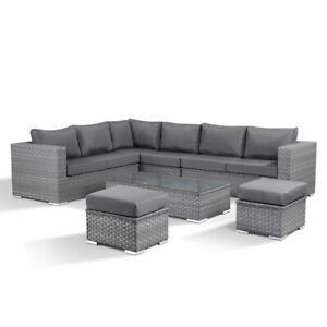 Layla Grey Garden Furniture Rattan Corner Sofa Coffee Table and 2 Stools Set