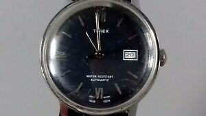 VINTAGE TIMEX AUTOMATIC DATE MENS WATCH BLUE FACE