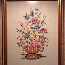 Vintage Needlepoint Floral Vase Framed Beautiful!!