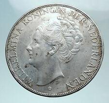 1939 Netherlands Queen WILHELMINA 2.5 Gulden Authentic DUTCH Silver Coin i81018