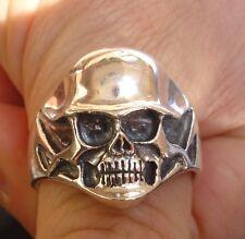 STERLING Silver 925  helmet skull ring biker jewellery