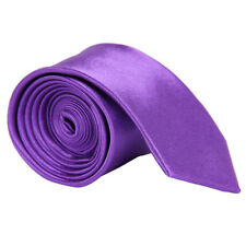 Classic Men's Slim Tie Solid Plain Skinny Silk Jacquard Woven Business Necktie