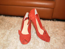 WOMEN'S TONY BIANCO RED SUEDE LEATHER  OPEN TOE HIGH HEEL SHOES - SIZE  9