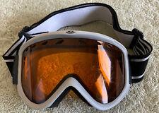 SMITH Ski Snowboard Gray Amber Lense Goggles Black White Strap Logo