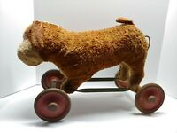 Antique Early Steiff Dog On Wheels Pull Toy Puppy