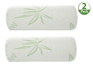 Bamboo Cylinder Neck Pillow Rol Cervical Bolster Round Pillow Memory Foam 2 pack