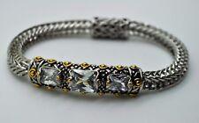 B282 Gorgeous Designer Style 2 Tone cable clear Cubic zircon fashion Bracelet