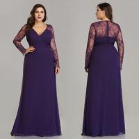 Ever-Pretty Evening Party Dress Long Sleeve Bridesmaid Dresses Purple 08692