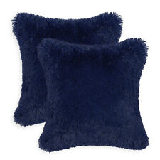 2Pcs Navy Blue Pillow Shell Case Cushion Cover Soft Plush Faux Fur Fleece 18x18""