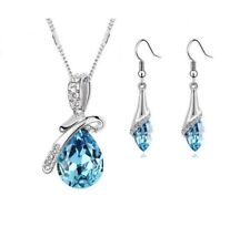 Mothers Day Gifts Set Pendants Necklace Bangles Silver GIFT FOR MOM (Blue)