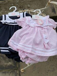 Baby Girls Dress Jam Pants Spanish Style Sailor Dress Headband 0-9 Months Navy