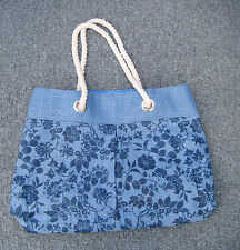 Blue Floral Beach Bag with Rope Handles