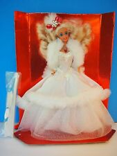 1989 Special Edition Happy Holidays Barbie in White Dress with Fur ,New No Box