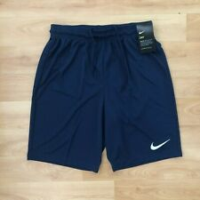NIKE Park III Knit Shorts - Embroided Logo - Navy Blue - Medium