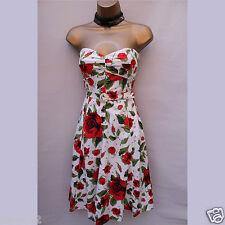 Size 14 UK KAREN MILLEN 50 s Inspired Rose Floral Bandeau Corset Fit Flare  Dress 0f02ecd74